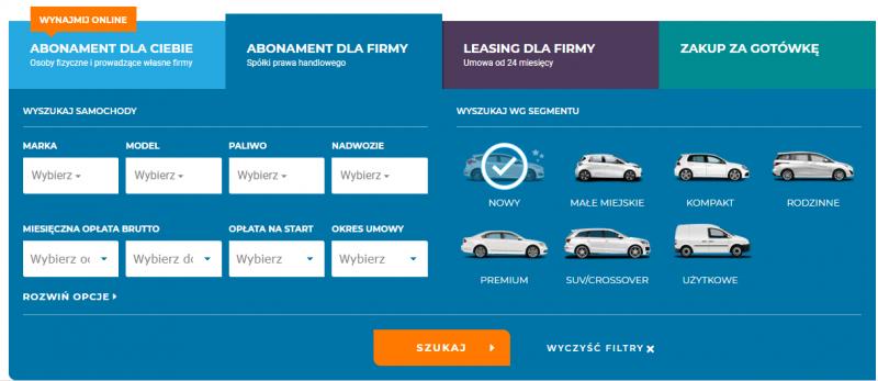 Abonament dla firmy - nowe auta