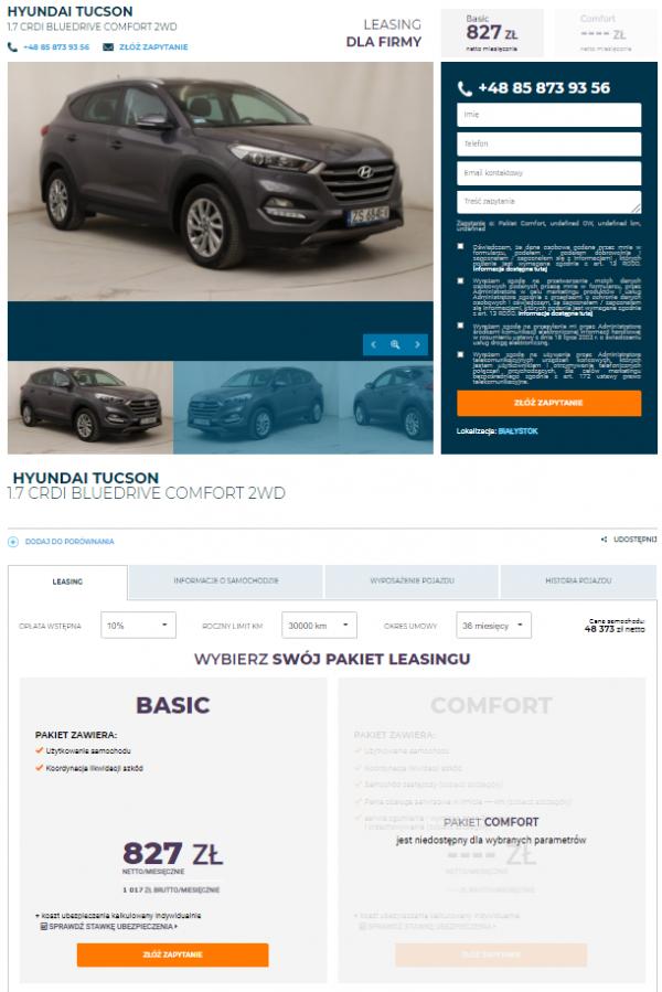 Leasing samochodów używanych - wybrany model