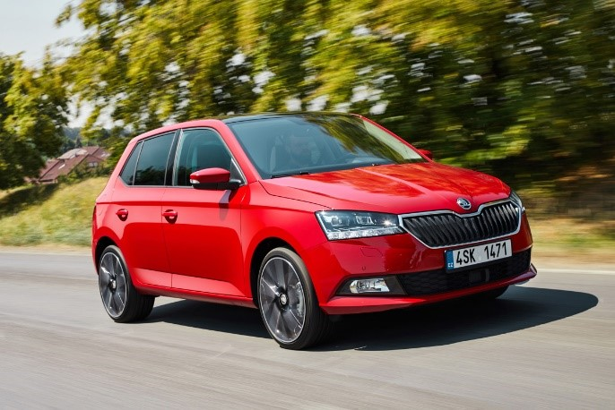 Skoda Fabia III red lifting hatchback car